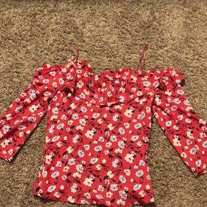 Red floral open shoulder top